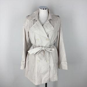 DKNY L Beige Light Khaki Trench Coat Belted Jacket